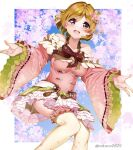 1girl bare_shoulders bow bowtie brown_hair cherry_blossoms collarbone commentary_request flower hair_flower hair_ornament highres koizumi_hanayo long_sleeves looking_at_viewer love_live! love_live!_school_idol_project nakano_maru open_mouth red_neckwear short_hair smile solo thigh-highs twitter_username violet_eyes white_legwear wide_sleeves wide_spread_legs