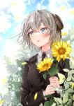 1girl akasaka_asa bangs black_jacket black_neckwear blue_eyes borrowed_character collared_shirt commentary_request curled_horns day eyebrows_visible_through_hair flower grey_hair hair_between_eyes highres holding holding_flower horns jacket long_sleeves looking_away looking_to_the_side necktie original outdoors parted_lips shirt signature solo sunflower upper_body white_shirt yellow_flower