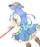 1girl bangs black_headwear blouse blue_hair blue_skirt boots brown_footwear closed_mouth cycloneyukari food frilled_skirt frills fruit hinanawi_tenshi leaf long_hair looking_at_viewer looking_back peach petticoat rainbow_order red_eyes simple_background skirt solo standing sword_of_hisou touhou white_background white_blouse