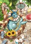 ball bathing beachball blurry bubble bucket closed_mouth commentary_request cutiefly day faucet flower footwear_removed gen_1_pokemon gen_3_pokemon gen_7_pokemon highres looking_up matsuri_(matsuike) no_humans outdoors partially_submerged paws petals pokemon pokemon_(creature) ripples smile sunflower toes vaporeon violet_eyes water wingull