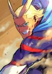 1boy all_might antenna_hair blue_bodysuit blue_eyes bodysuit boku_no_hero_academia fighting_stance grin hair_slicked_back looking_at_viewer male_focus mana30row mature_male motion_lines muscular muscular_male short_hair sideburns smile solo sparkle superhero thick_eyebrows younger