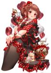 1girl balloon brown_hair cake cake_slice candy cup feet_out_of_frame food heart_balloon highres holding holding_candy holding_food holding_lollipop lollipop original pantyhose phone pinky_out polka_dot red_eyes rotary_phone ryota_(ry_o_ta) teacup