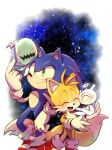 2boys :d ^_^ ^o^ blush closed_eyes closed_mouth fox_boy furry gloves green_eyes misuta710 multiple_boys multiple_tails open_mouth smile sonic_(series) sonic_colors sonic_the_hedgehog tail tails_(sonic) two_tails white_gloves wisp_(sonic)