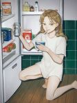1girl alcohol bangs barefoot beer beer_can blonde_hair brown_eyes can cup holding holding_can holding_cup indoors kneeling long_hair looking_to_the_side original refrigerator shirt short_sleeves solo spoon t-shirt utensil_in_mouth utsuwa0120 white_shirt