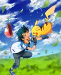 1boy :d absurdres ameiro_pk ash_ketchum bangs baseball_cap black_gloves blue_footwear blurry blush clouds commentary day fingerless_gloves gen_1_pokemon gloves grass hat hat_removed headwear_removed highres jacket leaves_in_wind leg_up male_focus open_clothes open_jacket open_mouth outdoors pants pikachu pokemon pokemon_(anime) pokemon_(creature) pokemon_m21 shoes short_sleeves sky smile tongue upper_teeth