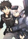 1boy 1girl armor armored_dress bangs black_armor black_gloves black_hair black_shirt blue_eyes breasts commentary_request eyebrows_visible_through_hair fate/grand_order fate_(series) fingerless_gloves fujimaru_ritsuka_(male) gloves grey_pants hair_over_one_eye highres holding holding_hands holding_shield holding_weapon looking_at_another mash_kyrielight medium_breasts nikame one_eye_covered open_mouth ortenaus pants pink_hair pointy_hair polar_chaldea_uniform shield shirt short_hair signature smile uniform violet_eyes weapon