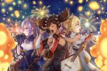 3girls :o absurdres armpits bangs barbara_(genshin_impact) black_gloves black_hair blue_eyes blurry choker commentary_request concert depth_of_field detached_sleeves double_bun drill_hair eyebrows_visible_through_hair fireworks from_side genshin_impact gloves guitar hair_between_eyes hair_ornament hat highres holding holding_instrument holding_microphone instrument keqing_(genshin_impact) light_brown_hair long_hair looking_at_viewer looking_to_the_side microphone moe_shin_image_residue multicolored_hair multiple_girls music night night_sky nun purple_hair sidelocks singing sky star_(sky) starry_sky streaked_hair twin_drills twintails two-tone_hair violet_eyes wide_sleeves xinyan_(genshin_impact)