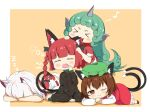 >_< 4girls :3 ahoge all_fours animal_ear_fluff animal_ears bangs beamed_eighth_notes black_bow black_dress blunt_bangs blush blush_stickers bow braid brown_hair cat_ears cat_tail chen chibi closed_eyes commentary_request crys_(dai) curly_hair dress earrings eyebrows_visible_through_hair fang fang_out goutokuji_mike green_hair green_headwear hair_bow hat horns jewelry kaenbyou_rin komano_aunn long_hair long_sleeves looking_at_viewer mob_cap multicolored_hair multiple_girls multiple_tails musical_note nekomata odd_one_out one_eye_closed open_mouth orange_background red_dress red_eyes red_shirt redhead shirt short_hair short_sleeves silver_hair simple_background single_earring single_horn sitting sleeping smile streaked_hair tail touhou twin_braids twintails two_tails very_long_hair wariza wavy_mouth x3 yawning