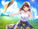 1girl :d amagi_shino bangs belt blue_skirt blue_sky blurry bracelet brown_hair collarbone commentary_request day depth_of_field eyebrows_visible_through_hair field floral_print foreshortening grass hat jewelry lens_flare long_hair looking_at_viewer necklace open_mouth original outdoors outstretched_arms print_skirt red_eyes shirt short_sleeves signature skirt sky smile solo straw_hat sunflower_print tree upper_teeth white_shirt