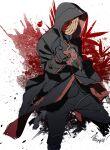 1boy akatsuki_(naruto) akatsuki_uniform black_coat black_gloves black_hair black_pants coat gloves hand_up highres hood hood_up male_focus mask naruto_(series) pants sharingan solo tobi_(naruto) zifletts