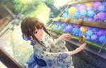 blush brown_hair green_eyes idolmaster_cinderella_girls_starlight_stage kimono long_hair shibuya_rin smile