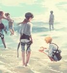 armin_arlert bare_shoulders beach black_hair blonde_hair butter_squid character_request eren_yeager from_behind high_ponytail mikasa_ackerman ocean pants pants_rolled_up paradis_military_uniform partially_submerged red_scarf sand scarf seashell shell shingeki_no_kyojin shirt shore short_hair sky sleeves_rolled_up squatting water waves white_shirt