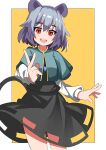 1girl :d absurdres animal_ears bangs blue_capelet border capelet cowboy_shot dress eyebrows_visible_through_hair grey_dress grey_hair highres jewelry long_sleeves looking_at_viewer mouse_ears mouse_tail nazrin open_mouth pendant rafa_(rafua_kz) red_eyes short_hair simple_background smile solo standing tail touhou v white_border yellow_background
