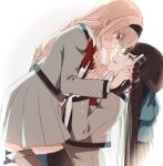 2girls backlighting bangs black_hairband black_legwear blonde_hair blue_bow blush bow bowtie brown_hair closed_mouth collared_shirt commentary_request eye_contact from_side girl_on_top grey_jacket grey_skirt hair_bow hair_ornament hairband hand_on_another's_face hands_up highres jacket kneeling long_hair long_sleeves looking_at_another multiple_girls nijiko_(c2cs4q) open_clothes open_jacket parted_lips pleated_skirt profile red_neckwear saijou_claudine school_uniform seishou_music_academy_uniform shirt shirt_tucked_in shoujo_kageki_revue_starlight simple_background sitting skirt smile sweatdrop tendou_maya thigh-highs violet_eyes white_background white_shirt x_hair_ornament yuri