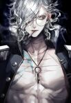 +_+ 1boy abs black_background black_jacket buttons chest_tattoo cigarette commentary edmond_dantes_(fate) eyelashes fate/grand_order fate_(series) glasses grey_hair hair_over_one_eye highres jacket key_necklace koshika_rina looking_at_viewer male_focus open_clothes open_jacket serious short_hair simple_background smoke smoking solo tattoo twitter_username upper_body wavy_hair yellow_eyes
