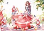 1girl absurdres animal_ears blueberry blush_stickers brown_hair cup dress flower flower_in_drink food food_focus frilled_dress frills fruit highres holding holding_spoon honey huge_filesize in_container in_cup ladder long_hair original oversized_object pippin_sol pitcher plate pouring rabbit rabbit_ears red_eyes red_ribbon ribbon sitting spoon straight_hair strawberry stuffed_animal stuffed_bunny stuffed_toy sugar_cube tea teacup white_flower