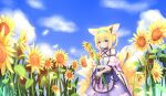1girl absurdres animal_ears arknights bangs blonde_hair blue_sky braid clouds cloudy_sky commentary_request detached_sleeves eyebrows_visible_through_hair flower fox_ears fox_girl fox_tail green_eyes hairband highres huge_filesize kyuubi long_hair looking_at_viewer multiple_tails n_(527959851) sidelocks sky smile solo sunflower suzuran_(arknights) tail twin_braids