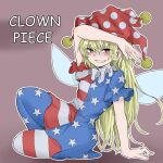 1girl american_flag_dress american_flag_legwear arm_up blonde_hair breasts brown_background character_name clownpiece fairy_wings fe_(tetsu) full_body grin hat highres jester_cap long_hair looking_at_viewer neck_ruff polka_dot polka_dot_headwear red_eyes red_headwear short_sleeves sitting small_breasts smile solo star_(symbol) star_print striped touhou very_long_hair wings
