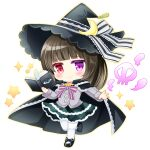1girl bangs black_cape black_footwear black_headwear blue_eyes blunt_bangs blush book brown_hair cape chibi closed_mouth commentary_request commission crescent eyebrows_visible_through_hair full_body green_skirt grey_jacket hat heterochromia holding holding_book jacket layered_skirt open_book original outline pantyhose pixiv_request plaid plaid_skirt red_eyes shikito shoes simple_background skirt skull smile smoke solo standing standing_on_one_leg unmoving_pattern violet_eyes white_background white_legwear witch witch_hat yellow_outline