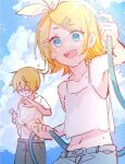 1boy 1girl aqua_eyes bangs belt blonde_hair bow closed_mouth clouds commentary day dripping hair_bow hair_ornament hairclip highres holding holding_clothes holding_hose holding_shirt hose kagamine_len kagamine_rin looking_at_viewer mi_no_take midriff navel open_mouth outdoors shirt short_hair shorts sketch smile standing swept_bangs tank_top upper_body vocaloid water white_bow white_tank_top wiping_face