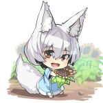 1girl :d animal_ear_fluff animal_ears bangs blue_dress chibi commentary_request dress eyebrows_visible_through_hair flower fox_ears fox_girl fox_tail hair_between_eyes holding holding_flower long_sleeves looking_at_viewer open_mouth original red_eyes smile solo standing sunflower tail white_hair wide_sleeves yellow_flower yuuji_(yukimimi)