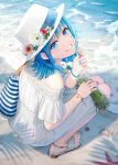 1girl animal bag bangs beach blue_eyes blue_hair blue_nails commentary crab dress eyebrows_visible_through_hair flower from_above from_behind grin hat hat_flower highres holding hyuuga_azuri looking_at_viewer looking_up nail_polish off-shoulder_dress off_shoulder original red_flower sand sandals seashell shell short_sleeves smile solo squatting starfish symbol_commentary toenail_polish toenails water white_dress white_flower white_footwear white_headwear