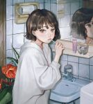 1girl bangs blush brown_eyes brown_hair brushing_teeth closed_mouth expressionless flower highres holding holding_toothbrush indoors long_sleeves looking_at_viewer mirror original plant red_flower shirt short_hair sink solo standing sweater sweatshirt toothbrush toothbrush_in_mouth utsuwa0120 white_shirt white_sweater white_sweatshirt