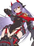 absurdres android breasts gonzarez highres joints large_breasts leotard poppi_(xenoblade) poppi_qtpi_(xenoblade) purple_hair red_eyes robot_ears robot_joints scarf simple_background solo white_background xenoblade_chronicles_(series) xenoblade_chronicles_2