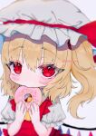 1girl ascot bangs blurry crystal doughnut eyebrows_visible_through_hair flandre_scarlet food food_in_mouth hat hat_ribbon highres holding holding_food looking_at_viewer mob_cap one_side_up red_eyes red_ribbon renakobonb ribbon short_sleeves simple_background slit_pupils solo touhou twitter_username upper_body white_background white_headwear wings yellow_neckwear