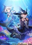 2girls black_dress black_footwear black_hair black_legwear blowhole blue_dress blue_eyes blue_hair blush bubble clownfish collar commentary_request common_bottlenose_dolphin_(kemono_friends) coral_reef dolphin_girl dolphin_tail dorsal_fin dress eyebrows_visible_through_hair frilled_collar frilled_dress frilled_sleeves frills hair_over_one_eye kemono_friends kemono_friends_3 legs long_sleeves mary_janes mucchiri_shiitake multicolored_hair multiple_girls neckerchief official_art orca_(kemono_friends) pantyhose sailor_collar sailor_dress shoes short_hair short_sleeves swimming two-tone_dress two-tone_hair underwater white_dress white_hair white_neckwear yellow_eyes