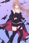 1girl alternate_costume artoria_pendragon_(all) bangs bare_shoulders black_jacket black_legwear black_ribbon black_shirt black_shorts blonde_hair blush breasts closed_mouth collarbone commentary cqingwei english_commentary excalibur_morgan_(fate) eyebrows_visible_through_hair fate/grand_order fate_(series) floating_hair hair_between_eyes hair_ribbon hand_on_hip highres holding holding_sword holding_weapon jacket jacket_partially_removed jet_black_king_of_knights_ver._shinjuku_1999 lips long_hair long_sleeves looking_at_viewer medium_breasts official_alternate_costume open_clothes open_jacket ponytail ribbon saber_alter shirt short_shorts shorts sidelocks sleeveless sleeveless_shirt smile solo sword thigh-highs weapon yellow_eyes