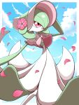 :d absurdres bonnet border capelet clouds commentary day flower gardevoir gen_3_pokemon hand_up highres open_mouth outdoors outside_border petals pink_flower pokemon pokemon_(creature) pokemon_unite red_eyes shabana_may sky smile solo tongue white_border white_headwear