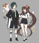 1boy 1girl :q absurdres alternate_costume anchor_symbol bangs black_footwear black_headwear black_sailor_collar black_shorts brown_hair closed_mouth facial_mark food forehead_mark genshin_impact ghost green_hair grey_background hair_between_eyes hands_on_hips hat highres holding hu_tao_(genshin_impact) ice_cream innertube kneehighs long_hair long_sleeves multicolored_hair papajay_(jennygin2) red_eyes sailor sailor_collar sandals shorts simple_background sleeveless sparkle standing tongue tongue_out twintails very_long_hair white_headwear white_legwear white_sailor_collar xiao_(genshin_impact) yellow_eyes