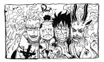 >:) 1girl 3boys alternate_form animal_ears animal_nose artist_name blood body_fur cheek-to-cheek cheek_press child cracking_knuckles earrings fire furry glasses grin height_difference horns jacket japanese_clothes jewelry kimono looking_at_viewer marco_(one_piece) momonosuke_(one_piece) monkey_d._luffy monochrome multiple_boys nishiponi nosebleed official_style one_piece open_clothes open_jacket open_shirt own_hands_together pectorals raised_eyebrow scratches sharp_teeth shirt short_hair side-by-side smile snot snout spoilers sweat teeth toned toned_male upper_body v-shaped_eyebrows yamato_(one_piece)