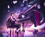 1girl bangs bare_shoulders black_footwear black_hair black_legwear blurry blurry_foreground boots breasts china_dress chinese_clothes closed_mouth commentary_request depth_of_field dress eyebrows_visible_through_hair flower hair_flower hair_ornament highres instrument lim_jaejin long_hair medium_breasts milky_way night night_sky original outdoors piano piano_bench purple_dress purple_flower revision ripples sky sleeveless sleeveless_dress smile solo star_(sky) starry_sky thigh-highs thigh_boots very_long_hair violet_eyes water
