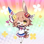 +_+ 1girl ;d animal_ears bangs black_footwear blue_sailor_collar blue_skirt blush breasts brown_eyes brown_hair chibi commentary_request daruma_doll eyebrows_visible_through_hair floral_background flower full_body hair_between_eyes hair_flower hair_ornament highres horse_ears horse_girl horse_tail matikanefukukitaru_(umamusume) milkpanda neckerchief one_eye_closed open_mouth outstretched_arm pleated_skirt red_neckwear sailor_collar shirt shoes short_eyebrows short_sleeves skirt small_breasts smile solo standing standing_on_one_leg tail thick_eyebrows thigh-highs umamusume upper_teeth v white_legwear white_shirt yellow_flower