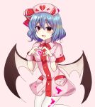 1girl absurdres bangs bat_wings blue_hair blush buttons collar dress eyebrows_visible_through_hair hair_between_eyes hands_up hat hat_ribbon heart heart_hands highres looking_at_viewer open_mouth pantyhose pink_background pink_collar pink_dress pink_headwear pink_sleeves plus_sign red_eyes red_ribbon remilia_scarlet ribbon short_hair short_sleeves simple_background smile solo subaru_(subachoco) touhou white_legwear wings