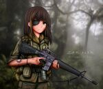 1girl absurdres ammunition_belt ammunition_pouch assault_rifle bandaid bangs blurry blurry_background brown_eyes brown_hair closed_mouth dirty dirty_clothes dirty_face eyepatch girls'_frontline green_jacket green_pants gun hair_between_eyes highres holding holding_gun holding_weapon jacket jungle long_hair looking_at_viewer m16 m16a1_(girls'_frontline) military military_uniform multicolored_hair nature outdoors pants pouch rifle scar scar_across_eye sleeves_rolled_up smoke_grenade solo streaked_hair tree trigger_discipline uniform vietnam vietnam_war weapon zap-nik
