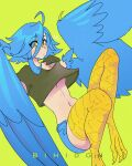 1girl ahoge animal_feet artist_name bangs bihidgn bird_legs black_shirt blue_hair blue_wings breasts feathered_wings feathers harpy highres monster_girl monster_musume_no_iru_nichijou navel papi_(monster_musume) shirt short_hair shorts simple_background small_breasts solo talons under_boob winged_arms wings yellow_background yellow_eyes