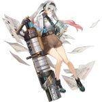 1girl aqua_eyes breasts brown_shorts cleavage_cutout clothing_cutout full_body girls'_frontline girls'_frontline_neural_cloud glasses hair_between_eyes hairband highres huge_weapon id_card legs looking_at_viewer lwmmg_(girls'_frontline) multicolored_hair necktie official_art paper pink_hair shirt shoes shorts silver_hair small_breasts sneakers solo transparent_background twintails weapon white_shirt
