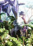 1boy 1other closed_eyes dinosaur egg falcom hat highres hummel_(ys) in_tree nature sellen sitting sitting_in_tree tree ys ys_viii_lacrimosa_of_dana