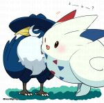 ;d bird blush brown_eyes closed_mouth commentary_request gen_4_pokemon honchkrow looking_away no_humans one_eye_closed open_mouth pokemon pokemon_(creature) red_eyes smile standing talons togekiss tongue white_background yamanashi_taiki