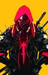 1boy black_bodysuit black_jacket bodysuit chun_lo english_commentary hands_in_pockets highres hood hood_up hoodie jacket katana looking_down male_focus marvel mask miles_morales red_hoodie solo spider-man_(miles_morales) spider-man_(series) superhero sword weapon weapon_on_back yellow_background