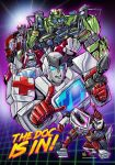 4boys annoyed autobot blue_eyes clenched_hand hand_on_hip highres looking_to_the_side mecha multiple_boys open_mouth pointing pointing_up ratchet rockmanzallz science_fiction transformers transformers_(live_action) transformers_animated transformers_prime v-fin