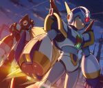 2boys absurdres android arm_cannon armor arms_at_sides back-to-back blonde_hair blue_gloves blue_headwear closed_mouth clouds cloudy_sky commentary_request dutch_angle feet_out_of_frame gloves green_eyes helmet highres hoshi_mikan long_hair looking_at_viewer male_focus mega_man_(series) mega_man_x4 mega_man_x_(character) mega_man_x_(series) multiple_boys outdoors ponytail red_headwear serious shoulder_armor sky standing very_long_hair weapon zero_(mega_man)