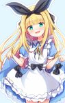 1girl :d apron bangs baram black_bow black_ribbon blonde_hair blue_background blue_dress bow commentary_request dress eyebrows_visible_through_hair frilled_apron frills green_eyes hair_ribbon highres long_hair looking_at_viewer mononobe_alice nijisanji open_mouth outline puffy_short_sleeves puffy_sleeves ribbon short_sleeves skirt_hold smile solo very_long_hair virtual_youtuber white_apron white_outline