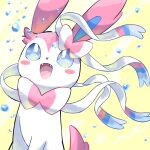 :d blue_eyes blush_stickers commentary_request fangs gen_6_pokemon highres looking_up no_humans open_mouth pokemon pokemon_(creature) smile solo surumeika_(ninfiiiir) sylveon tongue water_drop