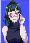 1girl absurdres bangs blood breasts glasses green_hair hands highres holding jujutsu_kaisen kaorunnrunn1904 long_hair looking_at_viewer open_mouth ponytail smile solo tongue tongue_out yellow_eyes zen'in_maki