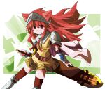 1girl animal_ears armor armored_boots bangs blush_stickers boots breastplate brown_cape brown_legwear cape cat_ears closed_mouth commentary_request cross feet_out_of_frame greatsword holding holding_sword holding_weapon kneehighs knight_(ragnarok_online) long_hair looking_at_viewer pauldrons pekomaru ragnarok_online red_eyes redhead scabbard sheath shoulder_armor smile solo sword vambraces visor_(armor) weapon