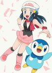 1girl :d beanie blue_eyes blue_hair blush boots bracelet clenched_hand commentary dawn_(pokemon) eyelashes floating_hair gen_4_pokemon hainchu hat highres jewelry kneehighs long_hair looking_at_viewer open_mouth outstretched_arm pink_footwear pink_skirt piplup pokemon pokemon_(anime) pokemon_(creature) pokemon_dppt_(anime) scarf shirt skirt sleeveless sleeveless_shirt smile tongue white_headwear